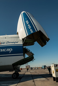 antonov airplane at Yubileyniy airport in the Baikonur Cosmodrome Kazakhstan..