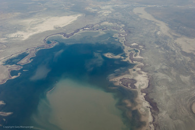 Aral Sea taken from flight from Moscow to Baikonur