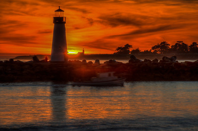 Another sunset HDR shot of the twin lighthouse's with a ghostly boat passing by.