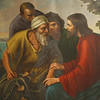 """Jesus talks with James and John"" painting by Sister Gregory Ems, OSB"