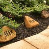 "To go along with our tagline, Reen and Deanne placed stones that say ""Seek"", ""Pray"", and ""Share""."