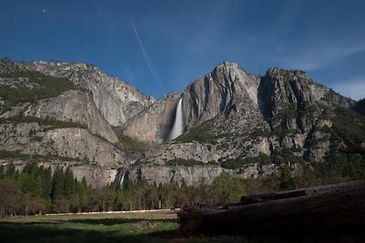 Full Moon Light shot of Yosemity Falls.