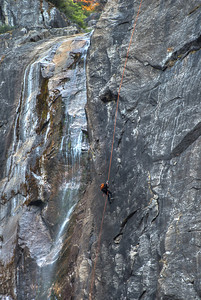 Climbing the Lower Yosemite Falls during a very low water period