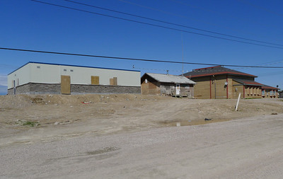 Left to right: new police station, coffee shop, band office, Webequie First Nation.
