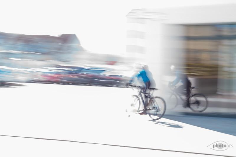 Fahrradfahrer, Rain am Lech, Schwaben, Bayern, Deutschland