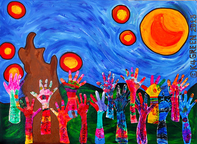 "K-4 Green's ""Art Faire"" project celebrates the student's individuality with vibrant color in this group project."
