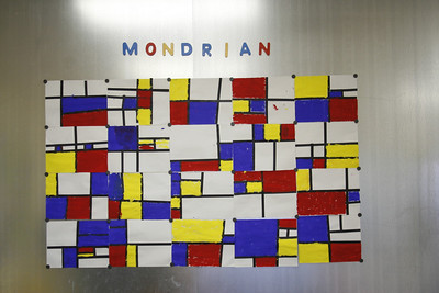 K-4's study the bold color blocking of famous artist Mondrian.