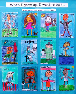 First grade students created futuristic self-portraits.