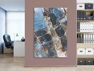 Wandgestaltung Büroraum mit Steinmotiv