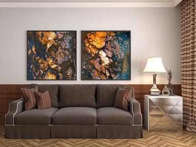Zwei Bilder abstrakter Steinstrukturen in Naturtönen fürs Wohnzimmer