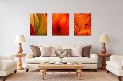 Leuchtend orangefarbene Blütenmotive als Triptychon
