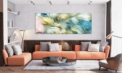 Abstraktes Motiv eines Bergbachs für Ihr Wohnzimmer