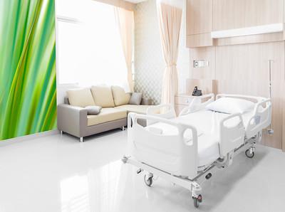 Abstraktes Blattmotiv für ein Patientenzimmer in einer Klinik