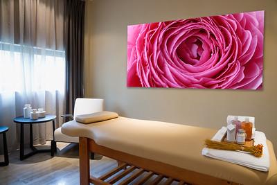 Blütenmotiv für einen Massageraum