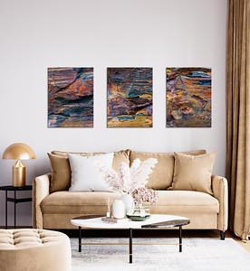 Farbstarkes Trio abstrakter Steinstrukturen für Ihr Wohnzimmer