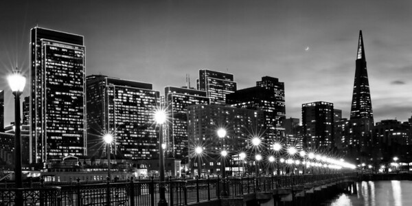 New Moon Over San Francisco, B&W