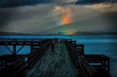 Sunset Rainbow over the Dock