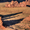 Shadows lengthen in the late afternoon in Monument Valley, as seen from Hunt's Mesa.
