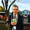 "All Hands Raised APAD 2015, Thursday October 15, 2015. Roosevelt High School Vice Principal, Dan Malone, on the lawn greeting students Thursday morning.  © 2015  Fred Joe Photo |  <a href=""http://www.fredjoephoto.com"">http://www.fredjoephoto.com</a>"