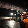 "Workers from Capital Concrete, Axis Crane and Stacy & Witbeck closed the Tacoma Street off ramp from Northbound McLoughlin Blvd Friday night 12/7/12. During the closure they installed a span of 4 girders, each weighing more than 100,000 lbs and measuring about 140 feet in length.  Capital Concrete used their Moon Glo Work Light system to provide safe glare free lighting to the site © 2012 TriMet / Fred Joe / <a href=""http://www.fredjoephoto.com"">http://www.fredjoephoto.com</a>"