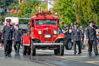 """Fire Truck """"Betsy"""" With Honor Guards."""