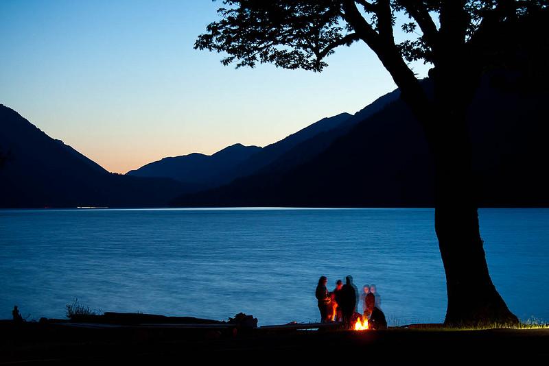 Campfire, Lake Crescent, Olympic National Park, Port Angeles, WA USA