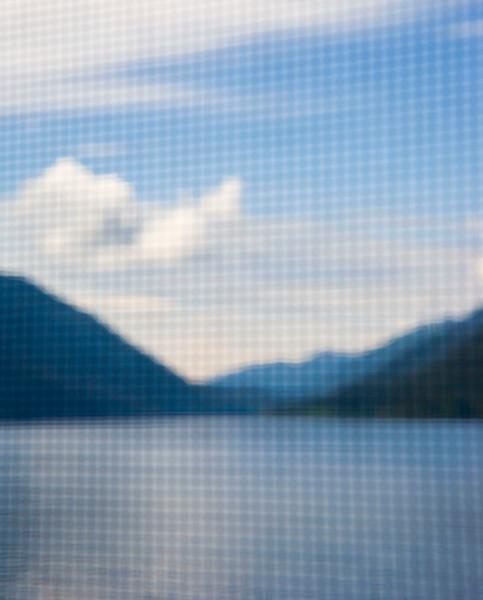 Lake Crescent through a screen door