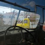 Reflection in old truck window, Sprague, WA USA