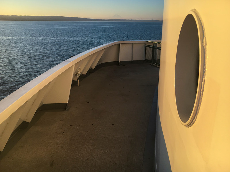 Kingston Edmonds ferry view of Puget Sound and Mt Rainier