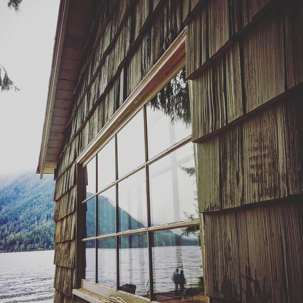 Roosevelt Cabin reflection of Lake Crescent, Oly NP, WA USA