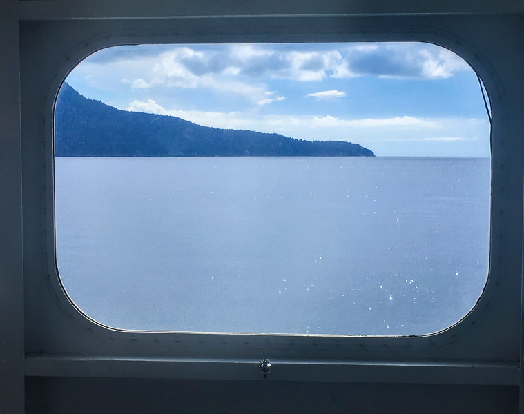 Ferry window of Howe Sound, BC Canada