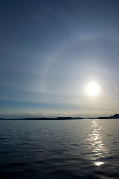 Sun setting over Rosario Strait, San Juan Islands, Wa USA
