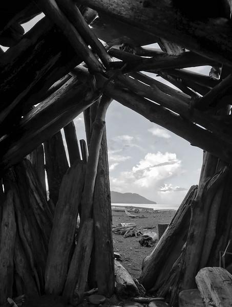 Driftwood shack near the Elwha River,  Port Angeles, WA USA