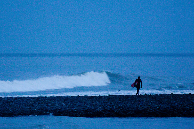 Surfer at dusk, Washington State