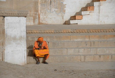 Saddhu on Steps