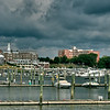 A storm approaches the north end of Red Bank, New Jersey as viewed from Riverside Gardens Park