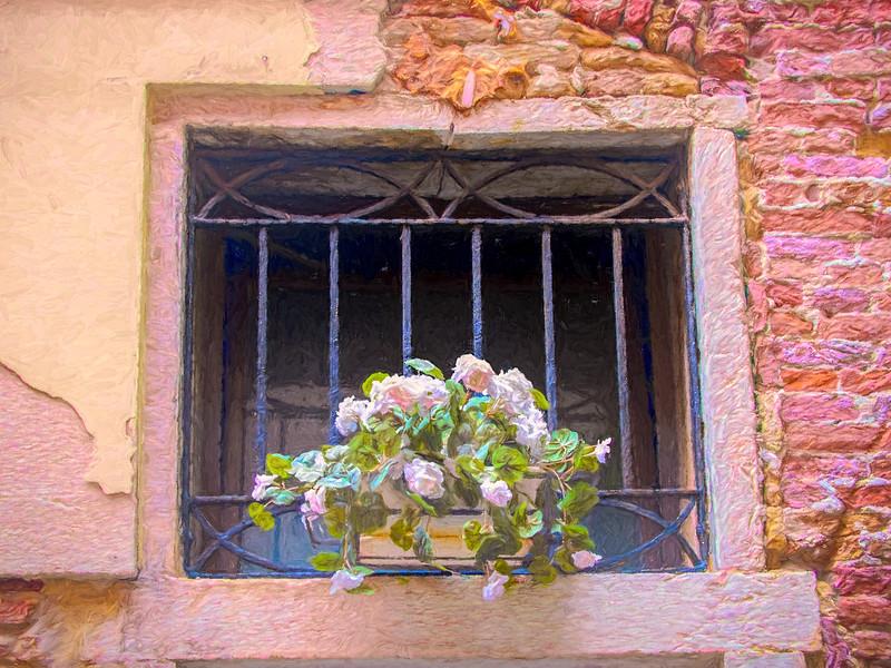 Flowers On Windowsill In Venice