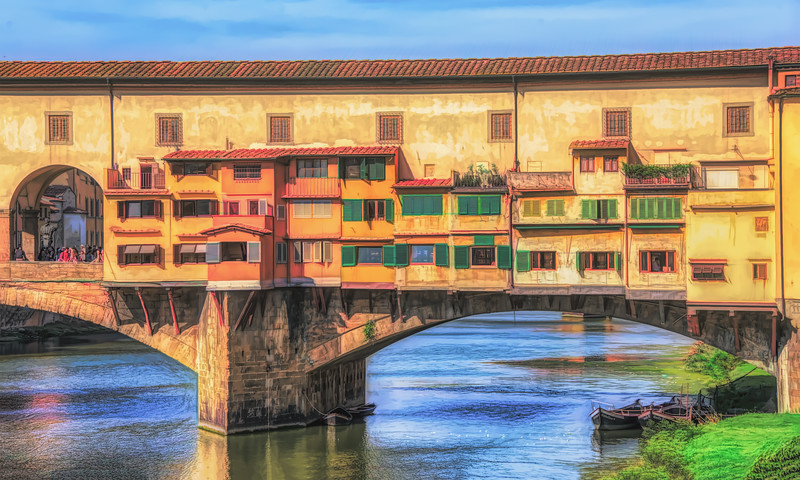 Old Bridge In Florence Italy Painterly