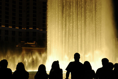 Visitors watching water fountain show at the Bellagio in Las Vegas, Nevada.