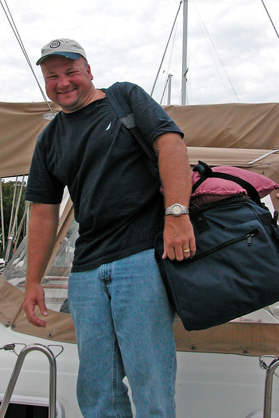 Happy crew departing.  All his stuff is self contained in the soft bag.