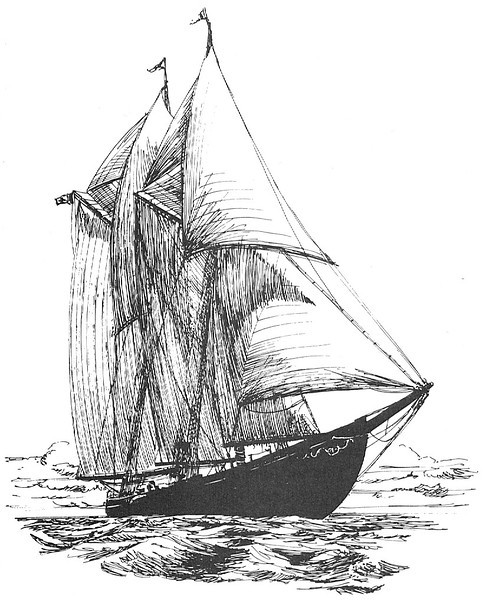 "Sketches from book  ""Bluenose Master"" by Earnest Hartling, Master of Bluenose II and VYC Steward from 1979 to 1990"