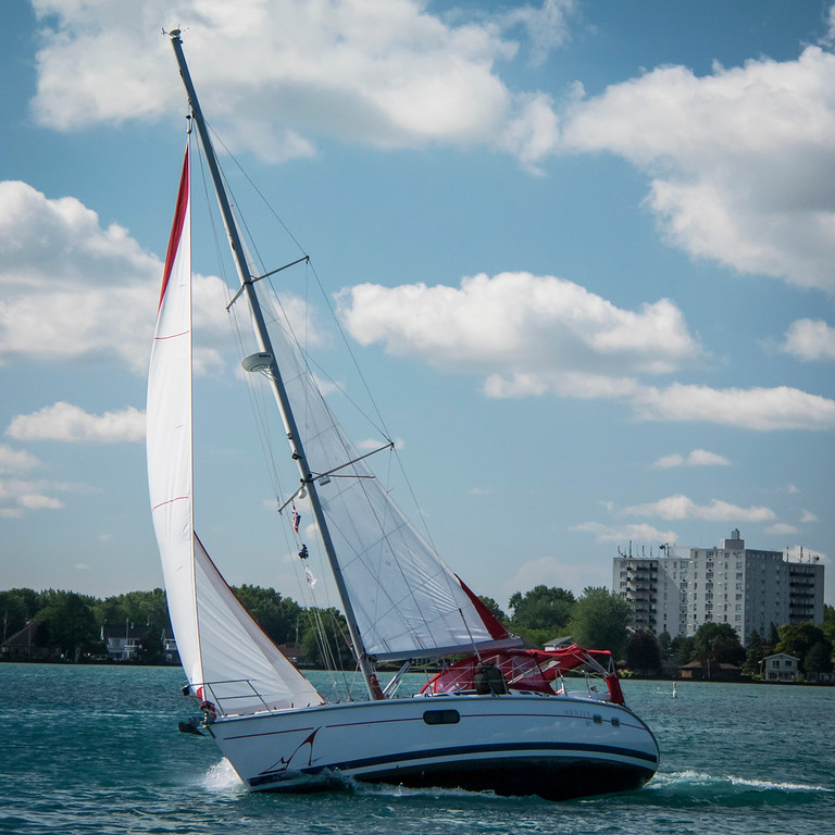 Rear Commodore Kym Custer on Lake St. Clair, July 2015