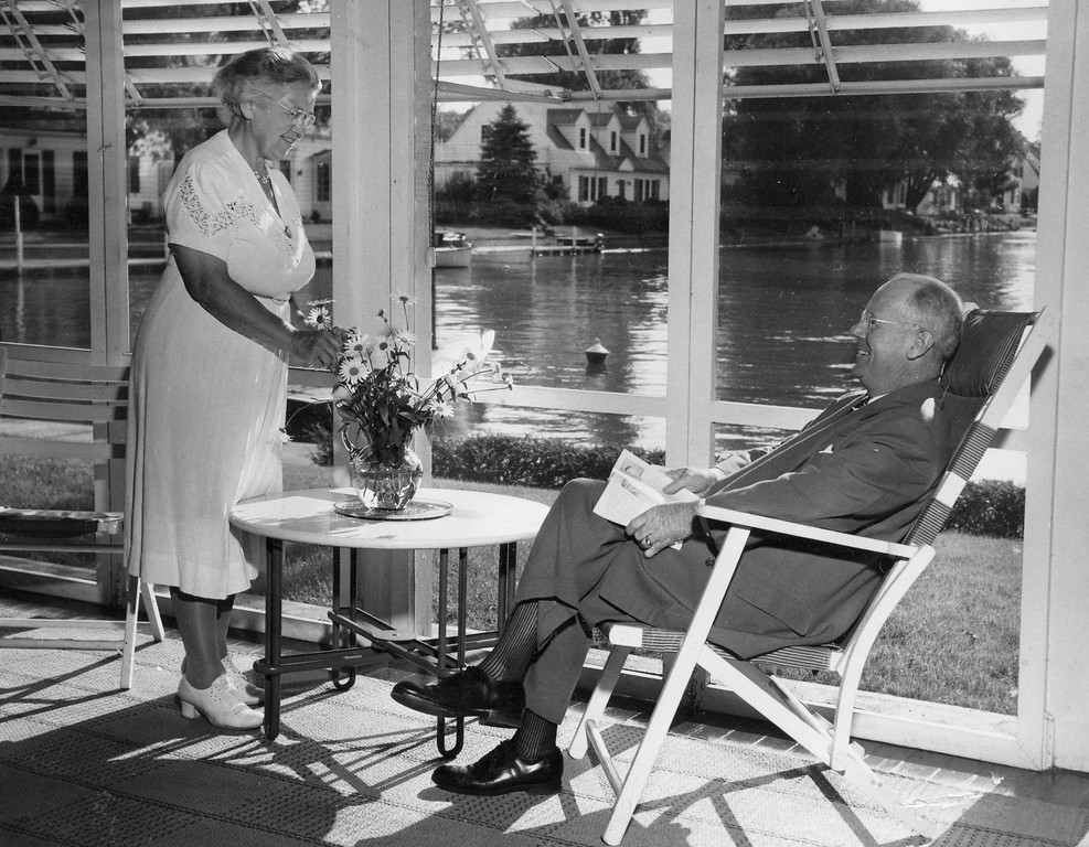 Stella and Lou Wells, Porch of Their Home on Portage Drive, August 7, 1952