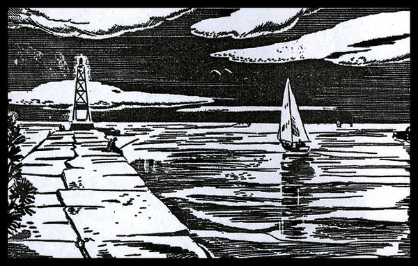 """Final Sail"" This ink block image originally appeared in the 1949 VYC Yearbook."