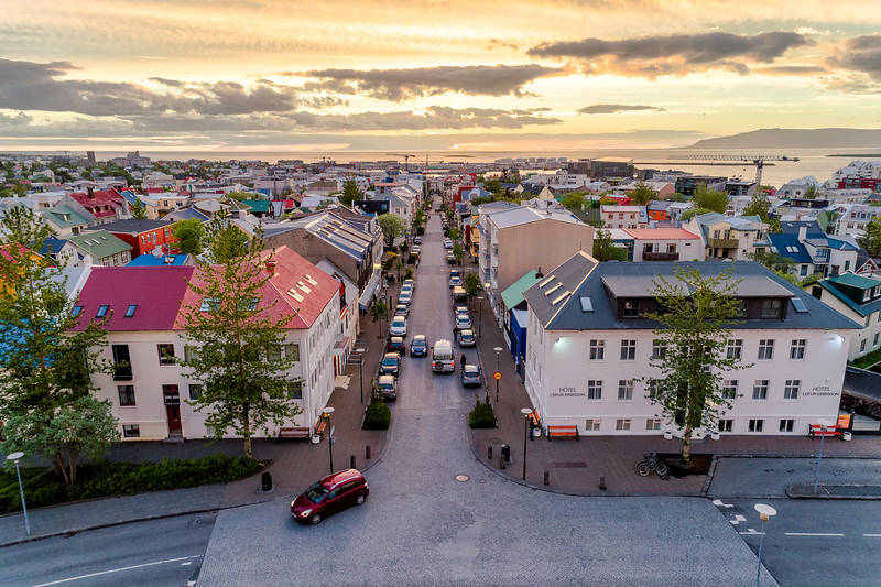 Aerial of Reykjavik downtown at sunset