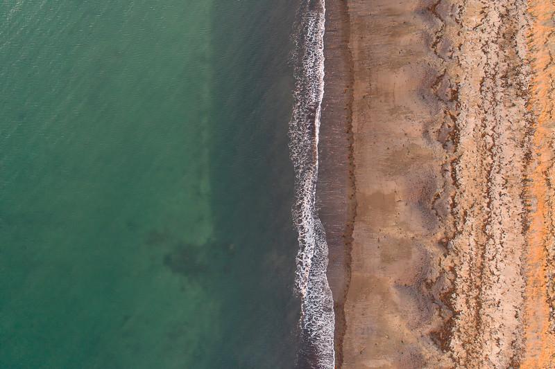 Aerial of white beach