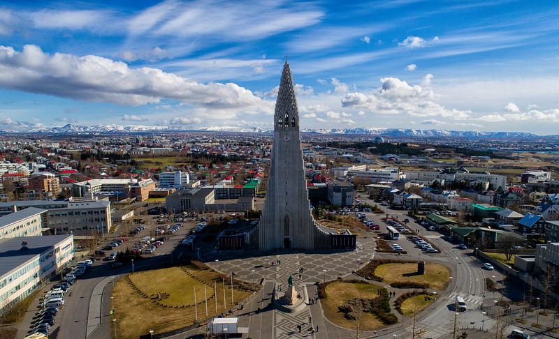 Aerial of Hallgrimskirkja cathedral Reykjavik
