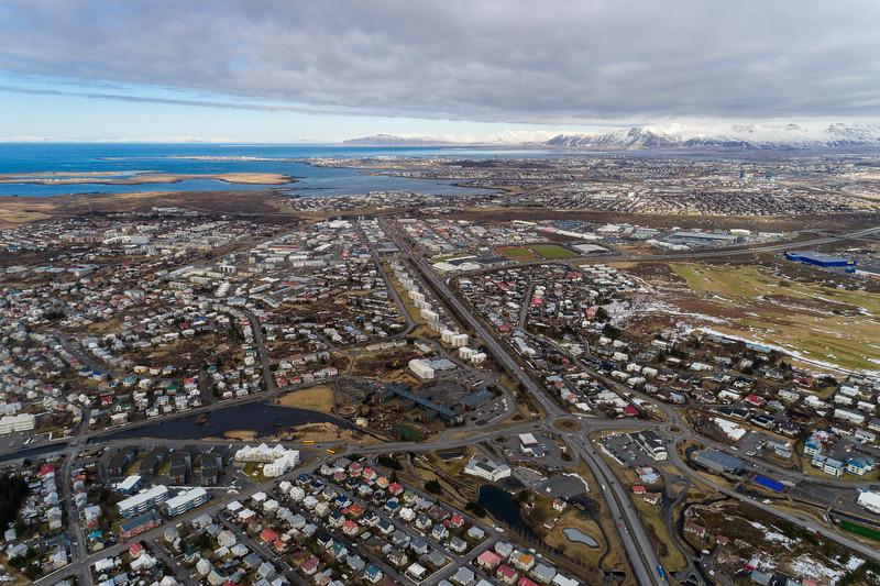 Aerial of Hafnarfjordur and Reykjavik city