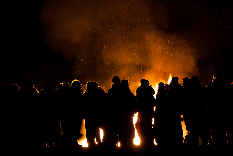 People at bonfire