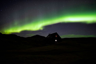 Highland hut at night